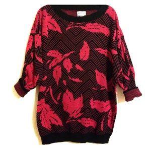 Vintage   Black & Pink Tunic Sweater